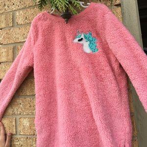 Sherpa like girl's unicorn sweatshirt